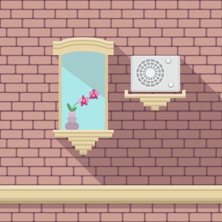 castle conditioning: Illustration with a vintage window and air-conditioner on the brick wall