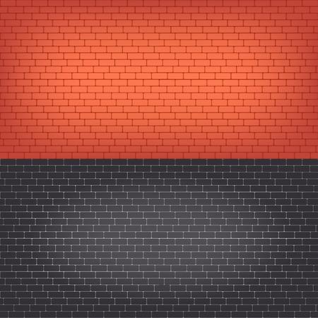 brick texture: Set of  brick walls seamless vector background.
