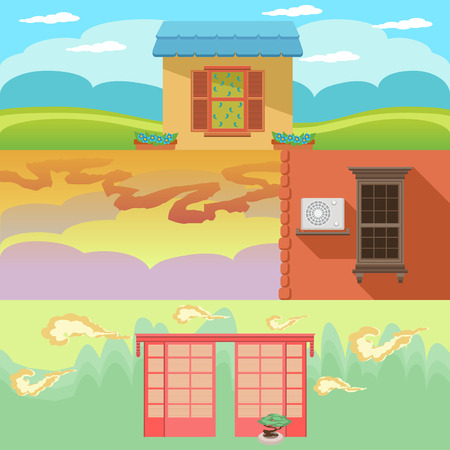 sill: Cartoon landscape with houses, windows, clouds and sky