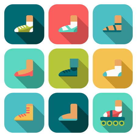 flat shoes: Set of flat shoes icons with shadow Illustration