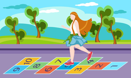 hopscotch: Little girl on playground, playing hopscotch game