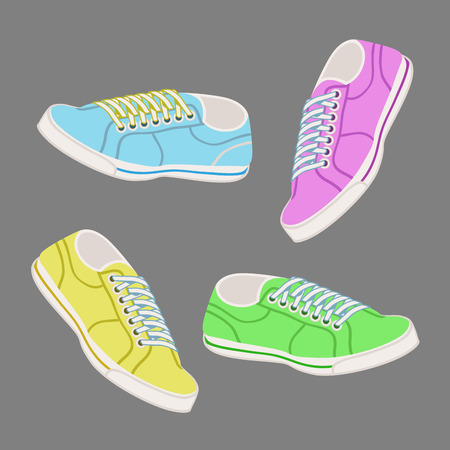 trainers: Fun bright colored 3d illustration of trainers with laces