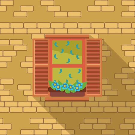 balcony view: Illustration with a vintage window and air-conditioner on the wooden wall