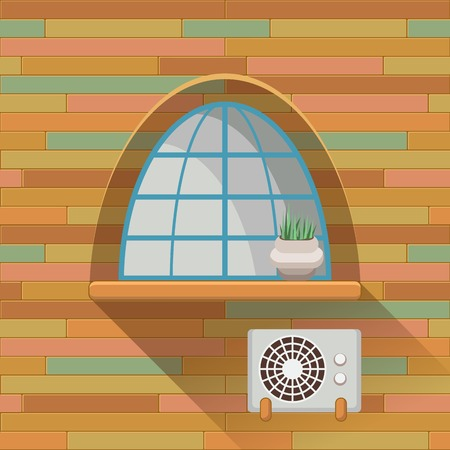 sill: Illustration with a vintage window and air-conditioner on the wooden wall