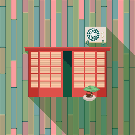 windowsill: Illustration with a vintage window and air-conditioner on the brick wall
