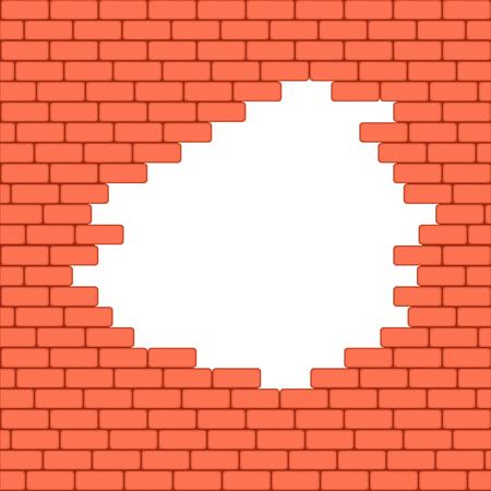 crashed: Red crashed brick wall texture background. Vector illustration. Illustration