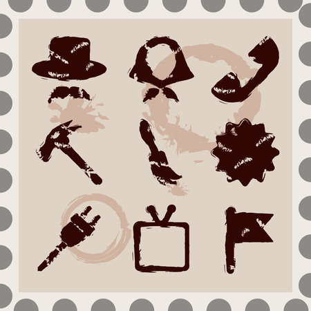 imprints: Set of 9 isolated brown retro imprints with splashes