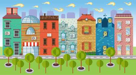 balcony view: Color vector illustrations urban landscapes and downtown