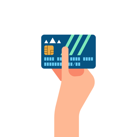holding credit card: Hand holding credit card, vector Illustration