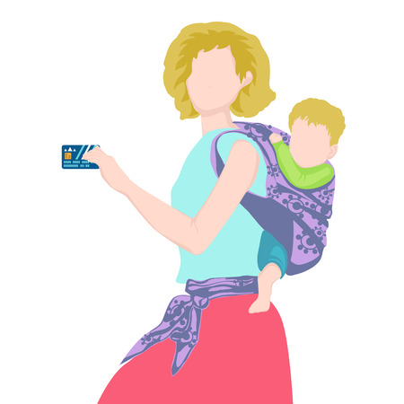 woman credit card: The young woman holding a credit card