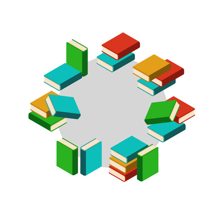 book background: Set of stacks of colored books in circle Illustration