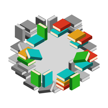 bookshop: Set of stacks of books in color and gray scale in circle