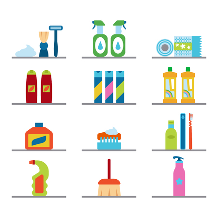 dishwashing liquid: Household chemicals and cleaning supplies bottles vector flat icons