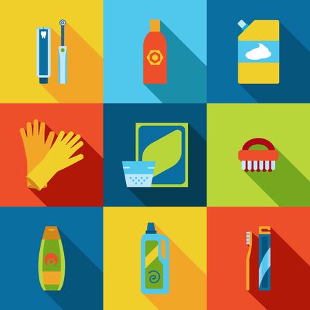 cleaning products: Higiene vectorial y productos de limpieza iconos planos.