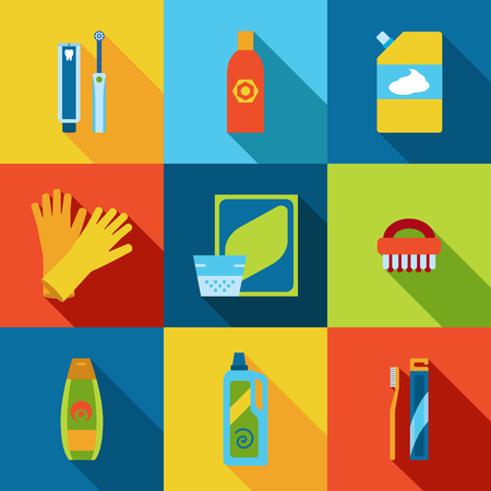 Vector hygiene and cleaning products flat icons. Illustration