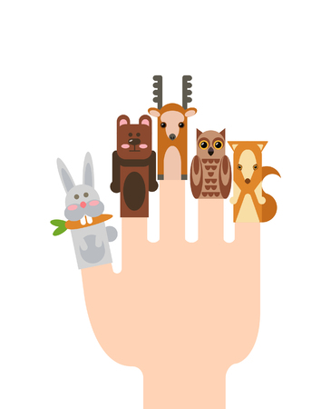animales del bosque: Vector illustration with animals. Different forest animals: rabbit, bear, fox, deer, owl, snake, hamster, panther, rhinoceros, hedgehog.