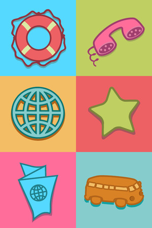 star path: Flat icons set in colors of bright