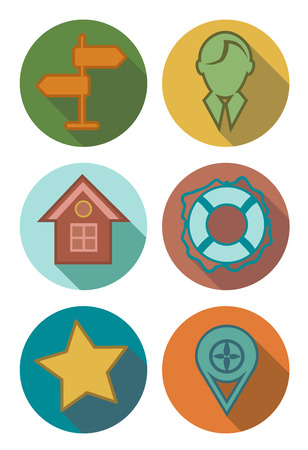 star path: Round icons forest Illustration