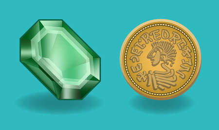 emerald: Emerald and coin