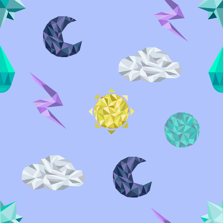 crystallization: Cartoon seamless pattern, vector endless background with polygonal weather symbols Illustration
