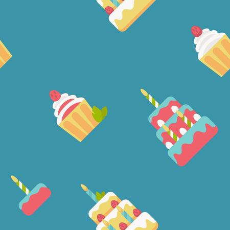 bright cake: Birthday cake bright flat pattern