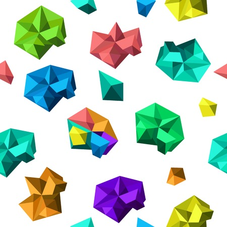 crystallization: Cartoon seamless pattern, vector endless background with polygonal shapes