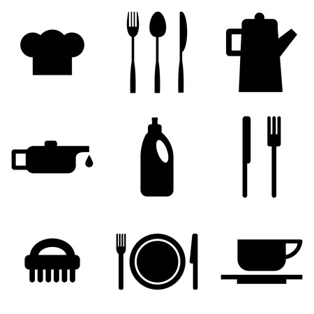 pictogram people: Vector restaurant and kitchen icons Illustration