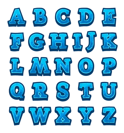 buttons web: Blue stone game alphabet Illustration