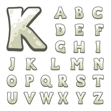 white stone: White stone game alphabet Illustration