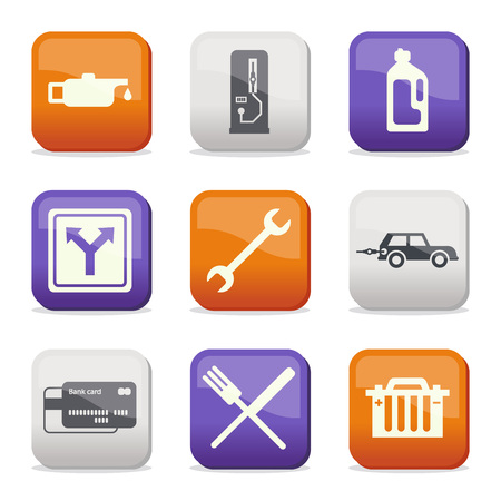 Fuel and transport colored icons Illustration
