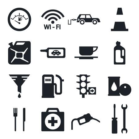 fuel pump: Fuel pump, gas station icons Illustration
