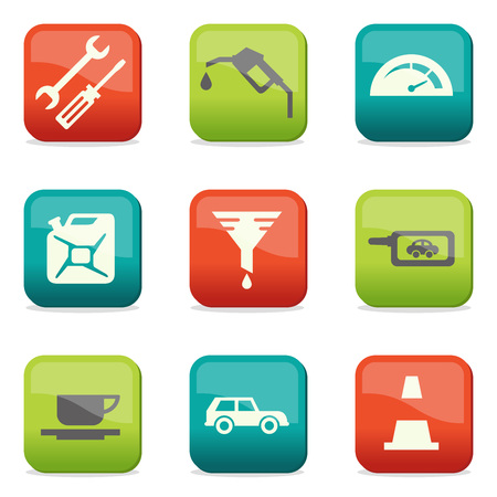 lubricator: Fuel and transport colored icons Illustration