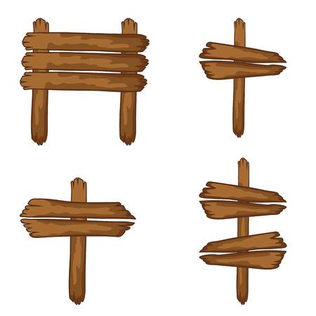 letreros: Letreros de madera y papel colgando de una cuerda. Aislado Conjunto de vector.