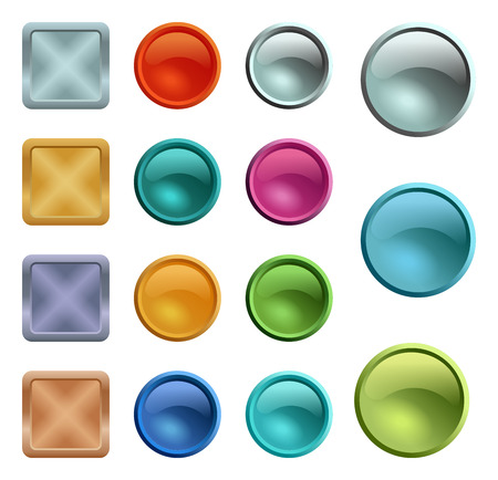 Colored blank buttons template with metal texture Ilustrace