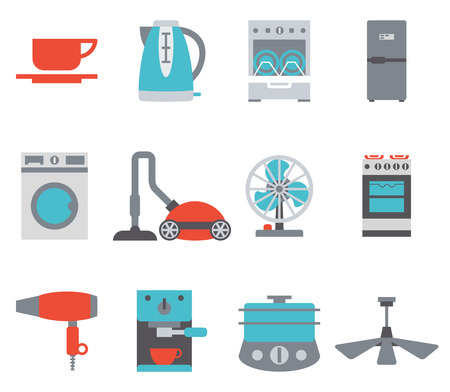 colored: Domestic Equipment colored icons Illustration