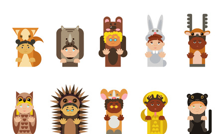 ethnics: Kids wearing animal pijamas, different ethnics, isolated. Vettoriali