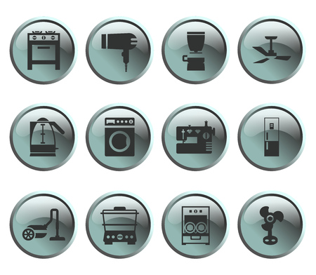 metall and glass: Blue gray buttons with silhouette domestic equipment icons