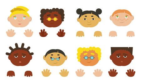 mexican boys: Kids faces and hands european, asian and african-american. Vector illustration