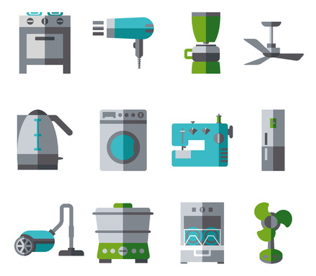 half: Domestic Equipment colored icons with half shadow