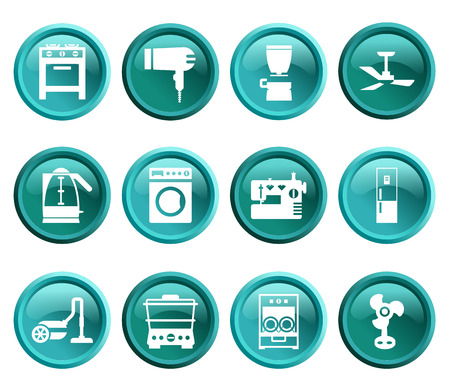 gas laundry: Blue and green buttons with silhouette domestic equipment icons Illustration