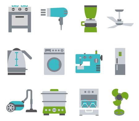 gas laundry: Domestic Equipment colored icons Illustration