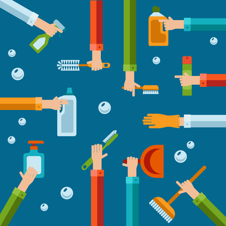 cleaning bathroom: Vector hygiene and cleaning products flat icons. Cleaner and toilet paper, toothpaste and deodorant Illustration