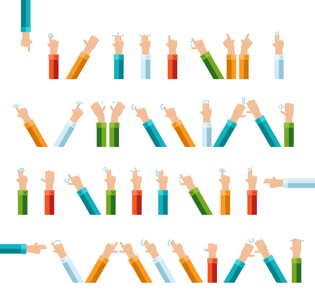 Outline hand finger gesture vector icon set Illustration
