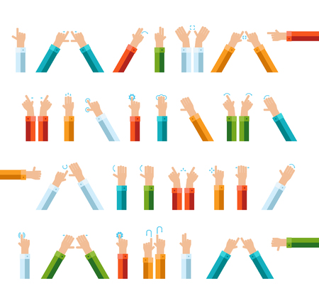 gesture set: Outline hand finger gesture vector icon set Illustration