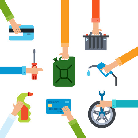 repairing: Refueling and repairing hands Illustration