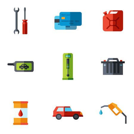 fuel pump: Fuel pump, gas station icons with shadow