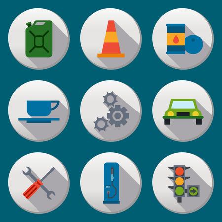 fuel pump: Fuel pump, gas station icons with half shadow