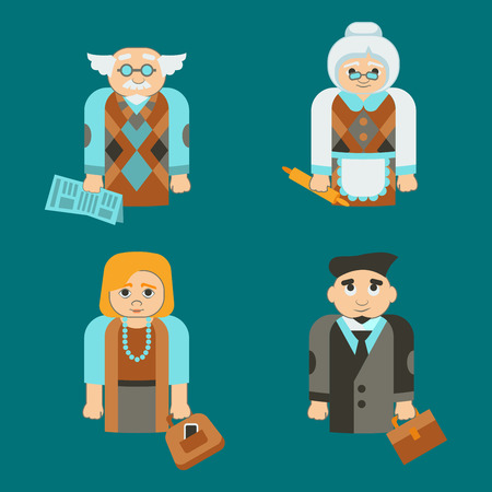 family isolated: Isolated family mother, father, grand mother and grand father Illustration