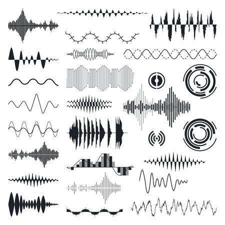 puls: Fale dźwiękowe Ustaw wektora. Korektor dźwięku Technologia, Pulse Musical. Ilustracja wektora Ilustracja
