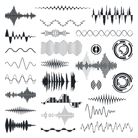 analog: Vector Sound Waves Set. Audio Equalizer Technology, Pulse Musical. Vector Illustration